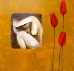 femme accroupie uno di due cm 100x100 gallery non dispo